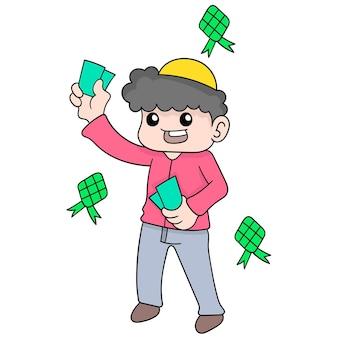 Il ragazzo sta condividendo i soldi mentre celebra l'eid al fitr, illustrazione vettoriale. scarabocchiare icona immagine kawaii.