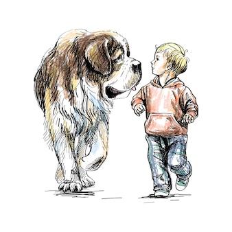 Il ragazzo sta camminando con un grosso cane su uno sfondo bianco. illustrazione