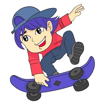 Il ragazzo salta giocando a cartone animato con lo skateboard