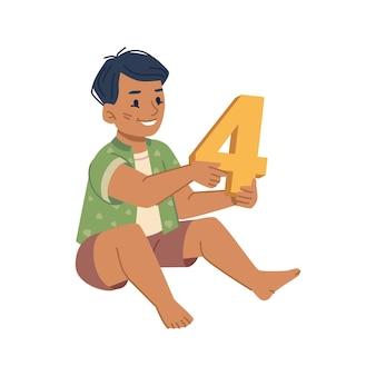 Ragazzo ragazzo che impara a contare kiddo isolato con un giocattolo di plastica a forma di educazione numerica
