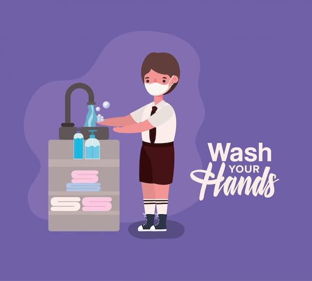 Ragazzo ragazzo con maschera medica lavarsi le mani