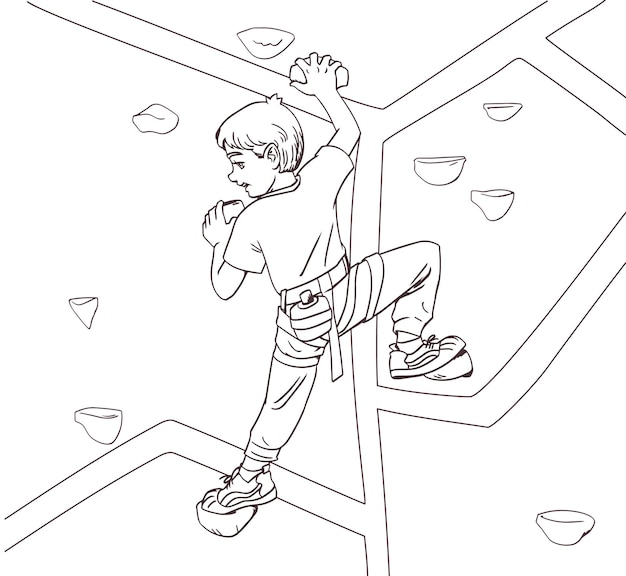 Lo scalatore dei bambini del ragazzo scala la montagna. libro da colorare design anti stress per bambini e adulti. illustrazione isolato su sfondo bianco. sport indoor per bambini