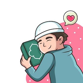 Boy love al quran cartoon icon illustration. isolato su bianco