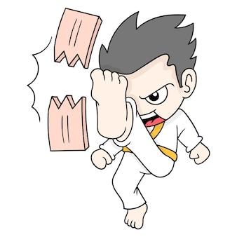 Atleta di arti marziali del ragazzo che pratica calci rompendo una tavola di legno, arte dell'illustrazione di vettore. scarabocchiare icona immagine kawaii.