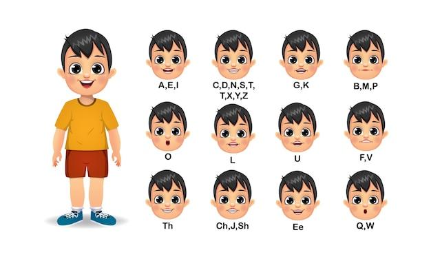 Animazione della bocca del ragazzo e insieme di pronuncia dell'alfabeto