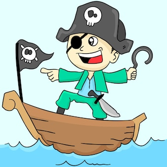 Il ragazzo pirata sta recitando. adesivo carino illustrazione dei cartoni animati