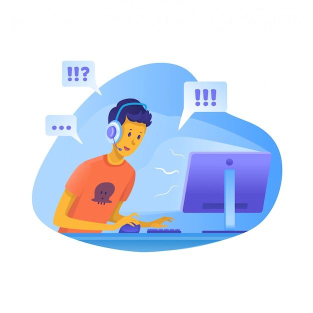 Ragazzo che gioca illustrazione di giochi per computer