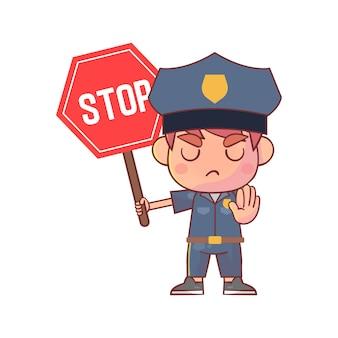 Ragazzo in uniforme della polizia e che tiene il segnale di stop