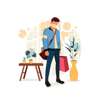 Il ragazzo posa in abiti eleganti e porta le borse della spesa