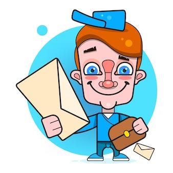 Ragazzo il postino in stile piatto. design piatto del personaggio dei cartoni animati. stile da ragazzo. concetto di icona di consegna espressa. progettazione del pacchetto. personaggio dei cartoni animati maschile.