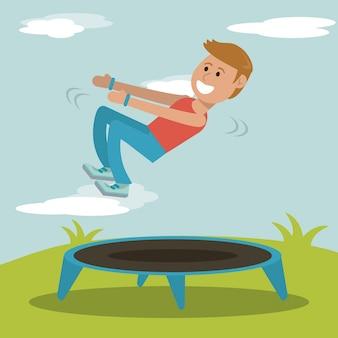 Ragazzo che pratica saltando la progettazione di sport del trampolino