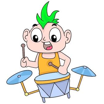 Ragazzo punk che suona musica di batteria alla moda, illustrazione vettoriale. scarabocchiare icona immagine kawaii.
