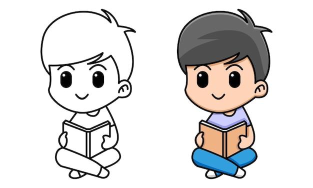 Ragazzo che legge libro da colorare per bambini