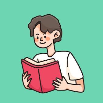 Ragazzo che legge libro simpatico cartone animato illustrazione concetto di educazione