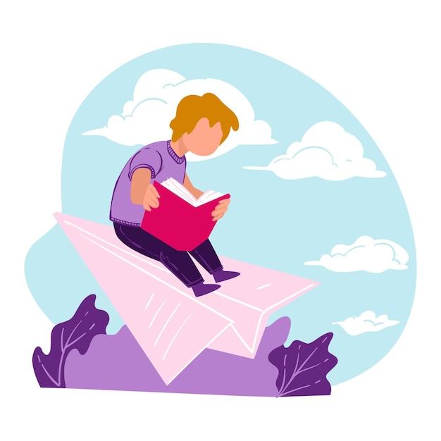 Libro di lettura del ragazzo che vola su un aereo di carta, personaggio maschile allievo che sviluppa immaginazione. topo di biblioteca sognante con storia di fantasia, hobby o svago della letteratura, passatempo dei bambini. vettore in stile piatto