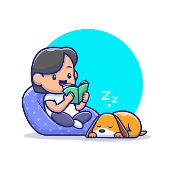 Illustrazione dell'icona del libro di lettura del ragazzo. personaggio dei cartoni animati di lavoro da casa mascotte.