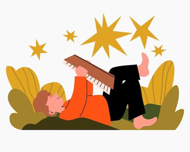 Illustrazione del libro di lettura del ragazzo nello stile piano del fumetto