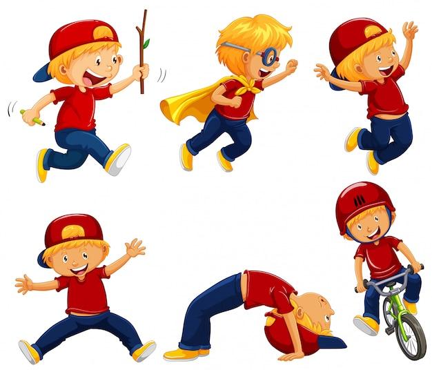 Ragazzo in camicia rossa facendo diverse azioni