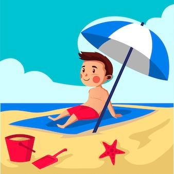 Il ragazzo si rilassa sull'illustrazione della spiaggia
