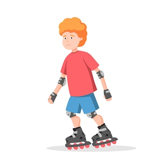 Ragazzo cavalca su pattini a rotelle