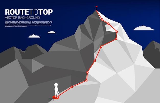 Ragazzo e rotta verso la cima della montagna. concetto di obiettivo, missione, visione, percorso di carriera, concetto di vettore stile linea di collegamento a punti poligonali