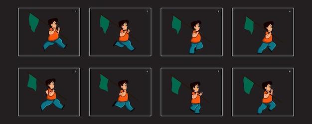 Foglio di sprite di animazione del ciclo di esecuzione del ragazzo