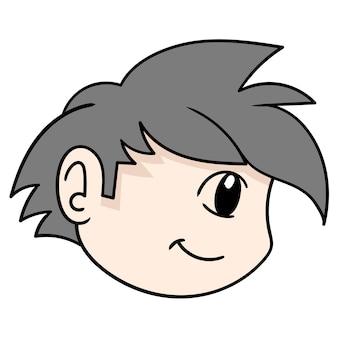 La testa del ragazzo di lato sembra sorridente, emoticon di cartone illustrazione vettoriale. disegno dell'icona scarabocchio