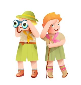 Illustrazione di personaggi di boy scout e girl scout per bambini. boy scout che sembra eccitato attraverso il binocolo, esplorando la giungla. fumetto di vettore nello stile dell'acquerello.