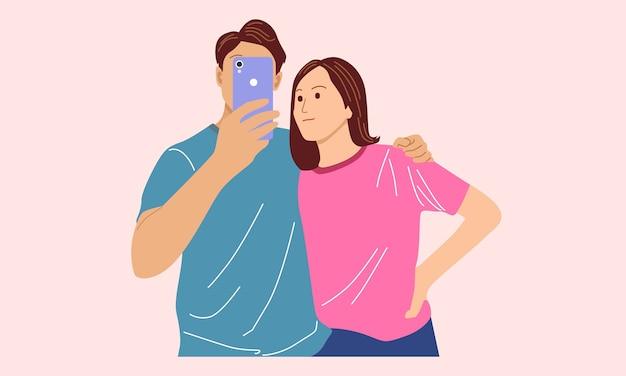 Selfie del ragazzo con la ragazza