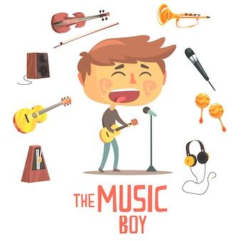 Cantante e musicista del ragazzo, illustrazione professionale di occupazione di sogno futuro dei bambini con relativa agli oggetti di professione Vettore Premium