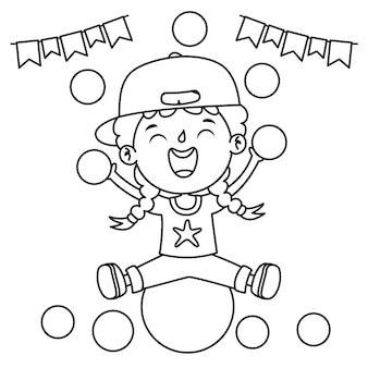 Ragazzo seduto su una palla con decorazioni festive, line art drawing for kids coloring page
