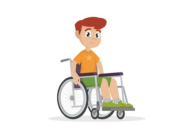Ragazzo seduto su una sedia a rotelle.