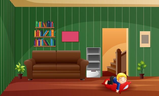 Un ragazzo che dorme sul cuscino a casa illustrazione