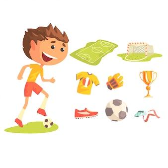 Giocatore di football americano di calcio del ragazzo, illustrazione di carriera sportiva professionale di sogno futuro dei bambini con relativa agli oggetti di professione