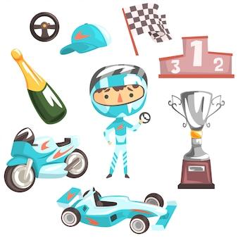 Boy speed racer, illustrazione professionale di occupazione di sogno futuro dei bambini con relativa agli oggetti di professione Vettore Premium