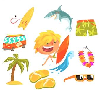 Sportivo estremo del surfista del ragazzo, illustrazione professionale di occupazione di sogno futuro dei bambini con relativa agli oggetti di professione Vettore Premium