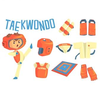 Combattente del taekwondo del ragazzo, illustrazione professionale di carriera sportiva di arti marziali di sogno futuro dei bambini con relativo agli oggetti di professione