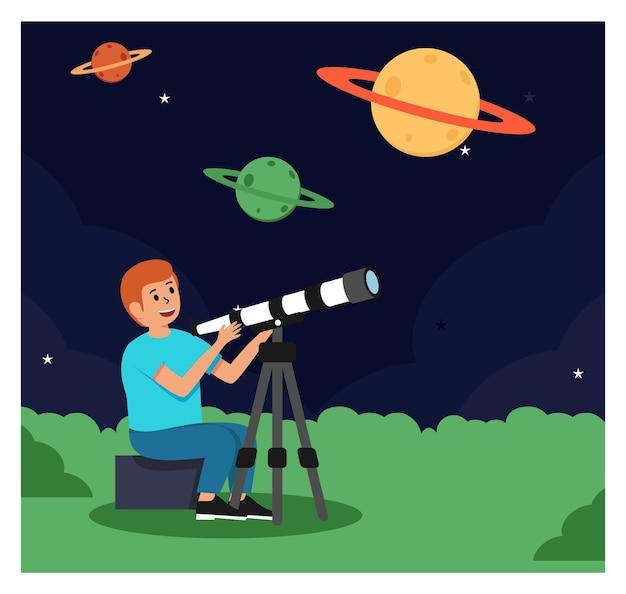 Ragazzo e telescopio
