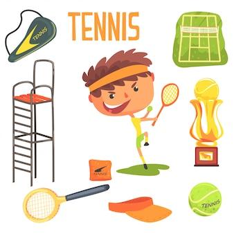 Tennis del ragazzo, illustrazione professionale di occupazione di sogno futuro dei bambini con relativa agli oggetti di professione Vettore Premium