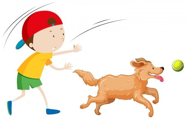 Un cane da addestramento del ragazzo