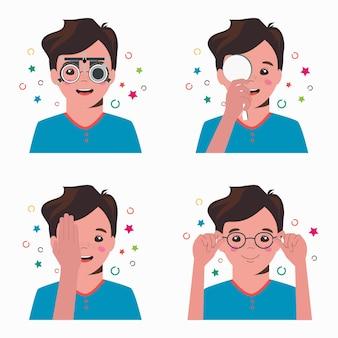 Controllo della vista del ragazzo in clinica oftalmologica. optometrista che controlla la vista del bambino con l'attrezzatura medica degli occhiali impostato. selezione di lenti per occhiali.
