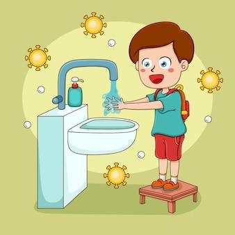 Ragazzo che si lava le mani a scuola