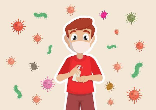 I ragazzi indossano maschere usa gel antisettico alcolico per pulire le mani e prevenire germi e covid19