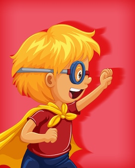 Ragazzo che indossa il supereroe con il ritratto del personaggio dei cartoni animati di posizione di stranglehold isolato