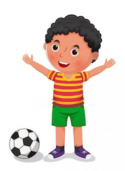 Ragazzo con un'illustrazione della palla