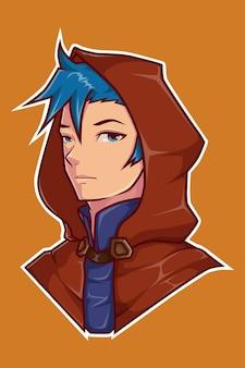 Disegno del personaggio del ragazzo con il mantello