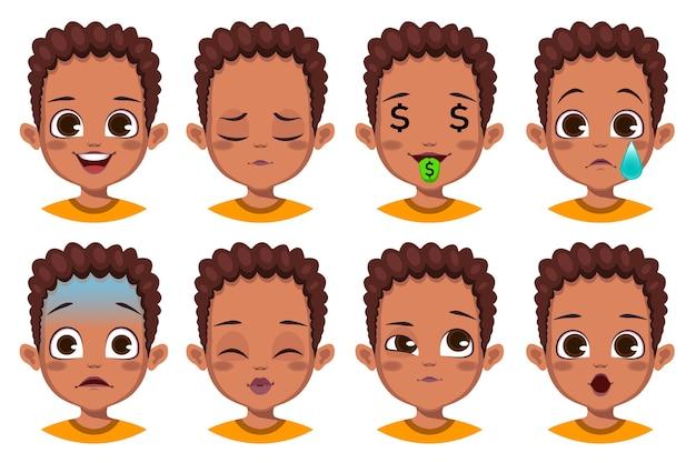 Ragazzo con diversa collezione di espressioni facciali