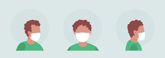 Ragazzo con set di avatar di caratteri vettoriali di colore semi piatto con maschera elastica. ritratto con respiratore dalla vista frontale e laterale. illustrazione in stile cartone animato moderno isolato per la progettazione grafica e il pacchetto di animazione