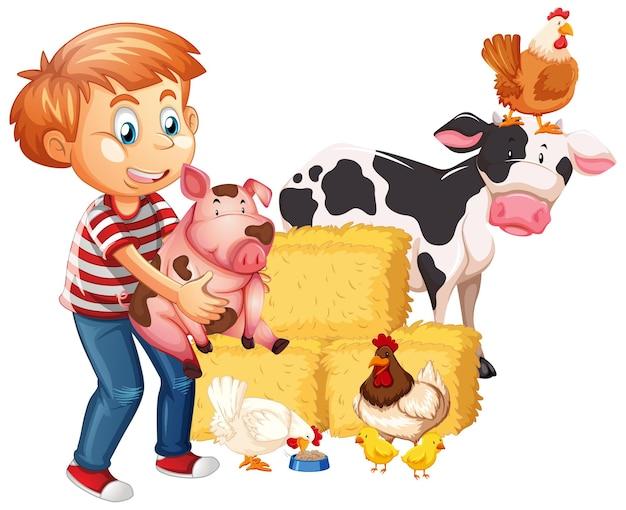 Ragazzo con animali da fattoria isolati su sfondo bianco
