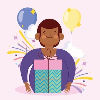 Ragazzo con regalo di palloncini decorazione ritratto illustrazione vettoriale